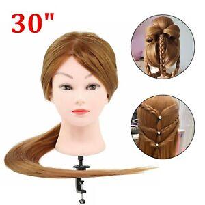 30'' Salon Hairdressing Training Head 50% Real Human Hair Mannequin Doll & Clamp