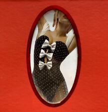 Wolford Valentino Polka Dot Spot Ribbon Bow String Bodysuit, Black/Ivory, Medium