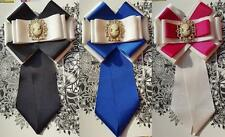Handmade women necktie gift  bow tie with brooch