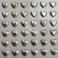 208 x 6mm Metallic Silver Heart Self Adhesive Stick on Gems Wedding Favors Boxes