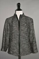 EILEEN FISHER NEW $398 Black Tweed Short Jacket Leather Tim Small