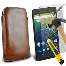 Brown PU Leather Pull Tab Case Pouch & Glass for Huawei Nexus 6P