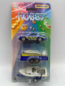 Matchbox 1990 Hobby Porsche Triple Pack Gift Set RARE Car & Boat Trailer