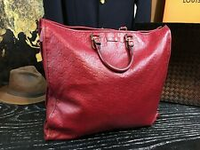 """GUCCI Italy 17"""" Large Guccissima GG Red Leather Tote Travel Bag Handbag Duffle"""