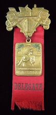 Antique 1910 New Jersey Fireman Assn Medallion Pin Atlantic City Delegate W&H