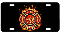 Fire Rescue License Plate Car Truck Tag Fireman Firefighter Metal Car Plate  L4