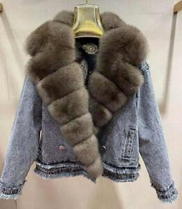 Women Jean Jackets Big Collar Winter Fashion Denim Coat Real Fox Fur Trim 53606B