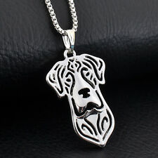 Stunning Silver Tone Great Dane Dog Necklace.With Organza Bag ..