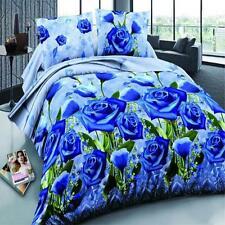 3D Blue Rose Winter Duvet Quilt Cover Sheet Pillowcase Bedding 4 Set Queen #1