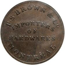 1832 Canada 1/2 Penny Token, TS Brown Montreal, LC-15A1, ANACS AU 58