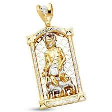 Solid 14k Yellow White Gold Big Saint Lazaro Pendant Religious Charm Two Tone