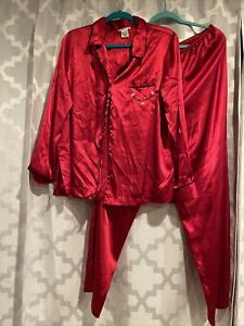 Pink Brand Red With Black Accents Satin Pajamas Size L