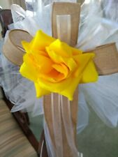 6 pc burlap wedding pew bows white and yellow with burlap or any color