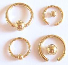 BCR Klemmring GOLD TITAN Piercing Ring Intim Brust Nase Studio Qualität 2 Größen