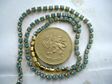 "12"" / 30cms Swarovski 8ss / 18pp Aquamarine chatons in gold-coloured cupchain"