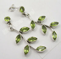 """925 STERLING Silver Natural PERIDOT TREE LEAVES EXTRA ORDINARY Earrings 1.8"""""""