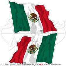 """MEXICO Mexican Flying Flag 120mm (4,7"""") Vinyl Bumper Stickers Decals x2"""