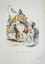 GRAVURE COULEURS XIXème PORTRAIT EQUESTRE UN CAVALIER NORMAND EN 1066 COSTUMES