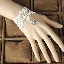 Women Bracelet Bridal Stone Silver Crown Drop Flower White Lace Sweet Wristband