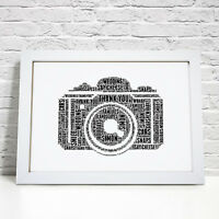 Personalised Word Art Camera Photo Photography Picture Print Gift Frame
