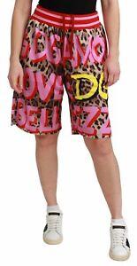 Dolce&Gabbana Women Multicolor Shorts 100% Polyester Leopard Print Bermuda Pants