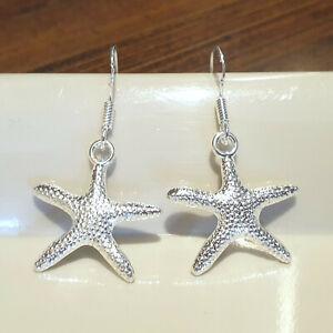 starfish dangle drop hook earrings silver plt beach sea nautical swim