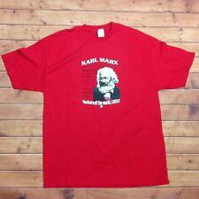 Vintage Karl Marx Capitalism Communism T-Shirt Adult XL Cotton Socialism Red