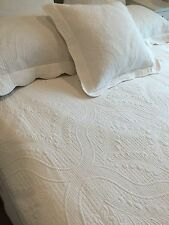 Single King Single White Shelbourne Provincial Marcella Coverlet Bedspread  3pc
