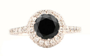 2.10 Carat AA Natural Jet Black & White Accents Diamond Ring In 14KT White Gold