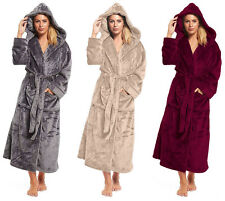 Long Fleece Dressing Gown Ladies Womens Length Luxury Hood Winter Housecoat Robe