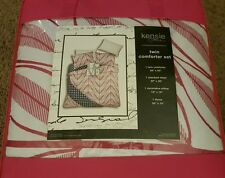 Kensie Home Twin Comforter Set Love Pink White Blue 4 Piece NEW