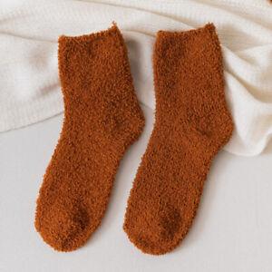 Women Coral Fleece Plush Fuzzy Socks Solid Color Sleeping Bed Cozy Floor Socks