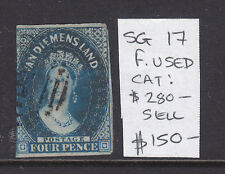 Tasmania: 4d Deep Blue Qv Chalon Sg17 Fine Used.