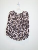 Loft Brown and Tan Floral Print Scoop Neck Long Sleeve Blouse Size XS