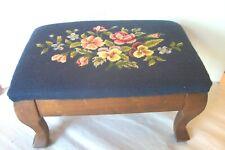 Vintage Footstool  Blue Floral Needlepoint Curved wood legs stool