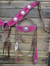 WESTERN HEADSTALL BREASTCOLLAR PINK SILVER TRAIL SHOW HORSE LEATHER BRIDLE TACK