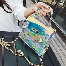 Womens Trendy Clear Tote Messenger Cross Body Shoulder Jelly Bag Handbag Chain