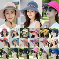 Womens Anti-UV Wide Brim Summer Beach Bucket Visor Sun Cap Protective Golf Hat