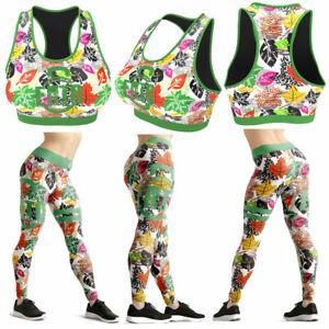 Ento UK Womens Printed Autumn Leaves Gym Yoga Legging Race Back Bra Set Fitness