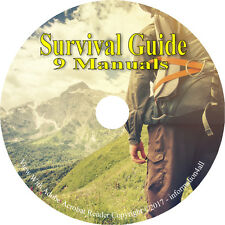 9 Manuals on CD, Ultimate Survival Guide, Wilderness Fire How to Books Surviving