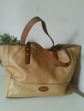 Fossil 100% Cow Hide Leather Tan Brown Tote Grab Shopper Shoulder Hand Bag