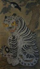Large Antique Korean MinHwa Folk Hand Painting BeakHo White Tiger Magpie