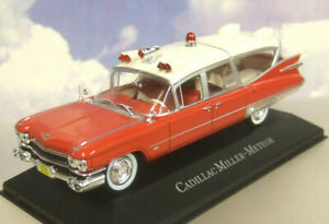 ATLAS 1/43 DIECAST 1959 CADILLAC SUPERIOR MILLER-METEOR AMBULANCE IN RED & WHITE