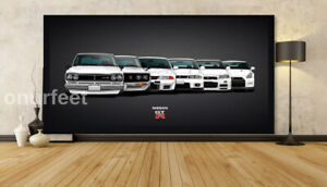 Evolution Nissan Skyline GTR GEN 20x30 Inch Canvas Wall Art Picture Print Framed