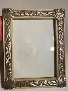 "5"" x 7"" Ceramic Picture Photo Frame,Cream w Silver Embossed Swirls & Fans Ornate"