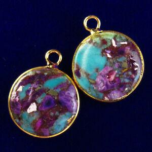 2Pcs Wrap Blue Purple Manmade Sea Sediment Jasper Round Pendant Bead
