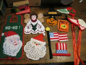CHRISTMAS/HOLIDAY LOT OF 11 Plastic Canvas Door Knob Hanger/ANGEL/REFRIG MAGNETS