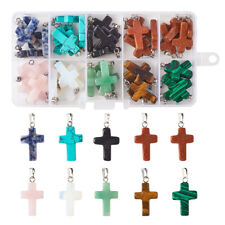 50pcs/Box Natural/Synthetic Gemstone Pendants Dyed Cross Charms Jewelry 26x15mm