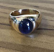 Beautiful Natural Blue Cabochon Corundum SAPPHIRE 6ct ring 14k YG Mens 10.25