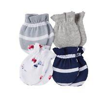 Gerber Baby Boy Firetrucks 4-Pk Blue/Gray Mittens Size 0-3M; CLOTHES SHOWER GIFT